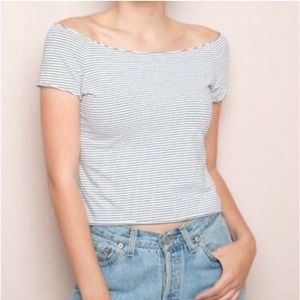 Brandy Melville Blue and White Rin Top